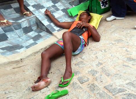 Mulher foi socorrida pelo SAMU. Foto: Leitor / Ipiaú On-line