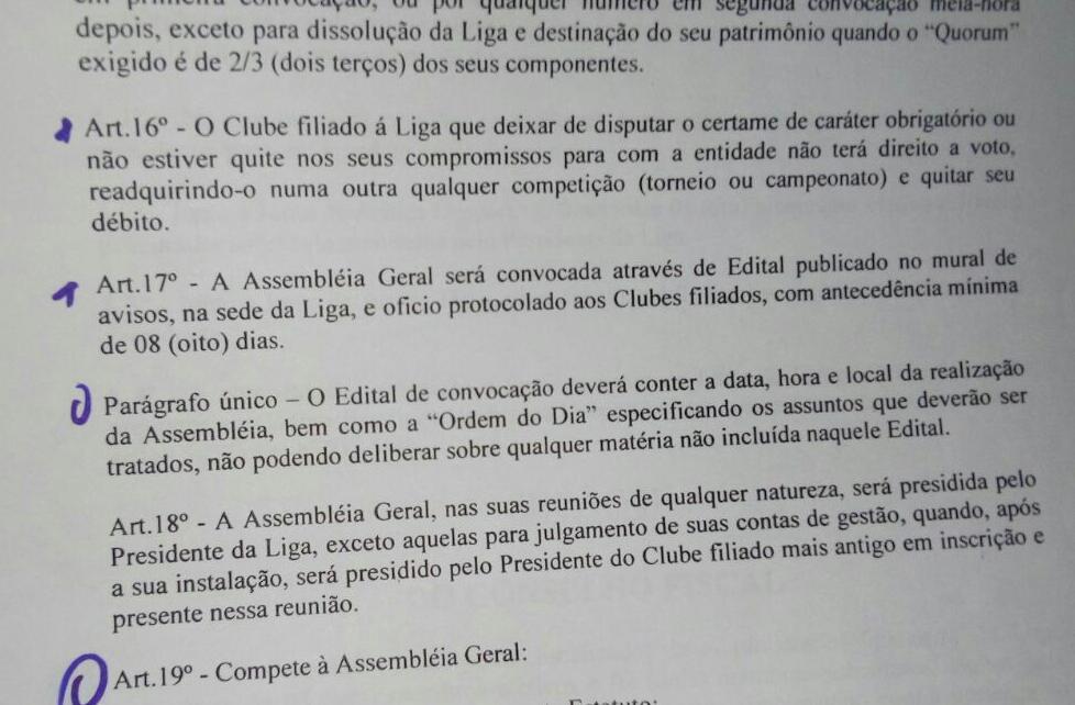 Trecho de estatuto da LDI onde, no artigo 17, exige-se