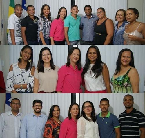 Funcionários empossados em companhia da prefeita e secretárias da administração. (Foto ASCOM)