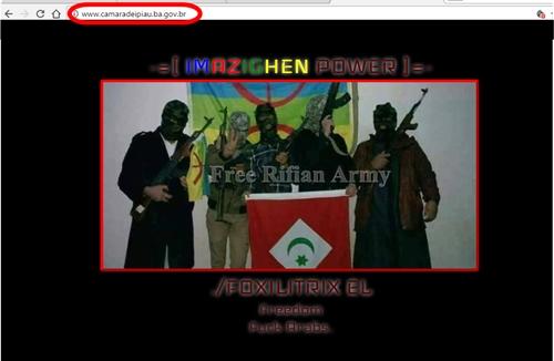 Uma imagem com homens armados e com os rostos cobertos aparece na página da Câmara. (Reprodução: Noel Rodrigues/Ipiaú On Line)