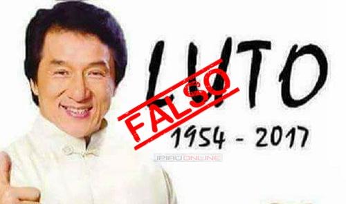 Chegou a vez de Jackie Chan ser vítima de um boato envolvendo a morte de celebridades. (Foto montagem: Ipiaú On Line)