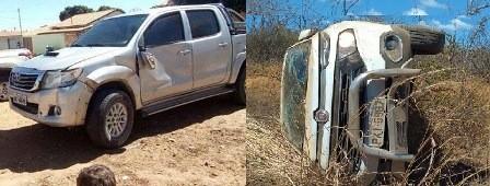 Hilux de Jorge e Fiat Toro abandonado por bandidos