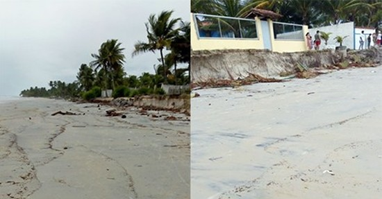 Muros derrubados por mar na zona norte. Imagem: Whatsapp.