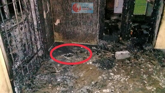 Restos de materiais inflamáveis podiam ser vistos no local.