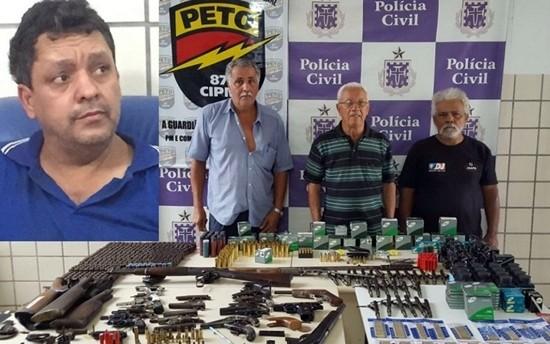 Quatro comerciantes foram presos na operação; idoso de 86 anos está ao meio da imagem (Foto: Divulgação / Polícia Civil)