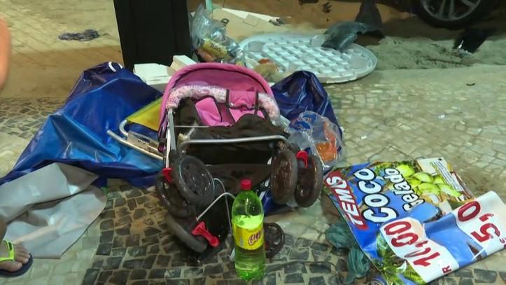 Bebê estava entre os feridos (Foto: Reprodução/GloboNews)