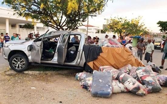 Carga roubada por suspeitos foi apreendida na Bahia (Foto: Site Bahia10)
